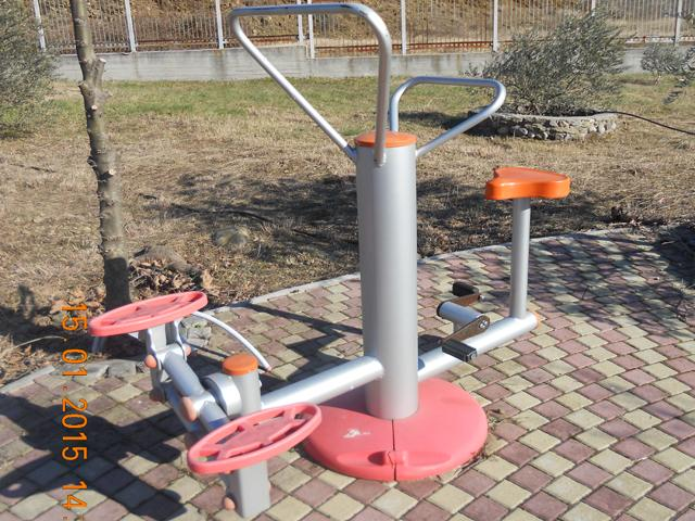 Stationary bicycle and stepper two persons